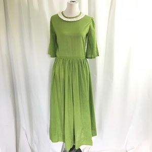 70s  Dotted Swiss spring Green Full Circle Dress L